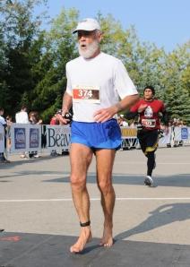 At the finish line of the Oakville Half Marathon