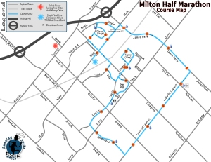 Milton Half Marathon course map